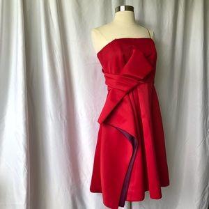 Halston Heritage Formal Red Strapless Dress!